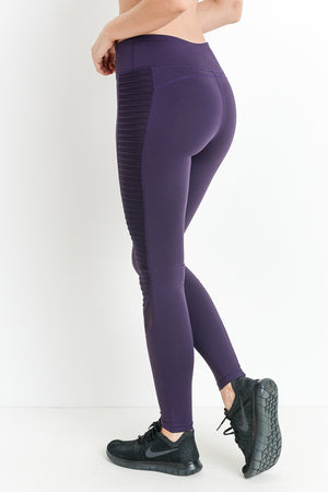 Egg Plant High Waist Leggings with Pockets