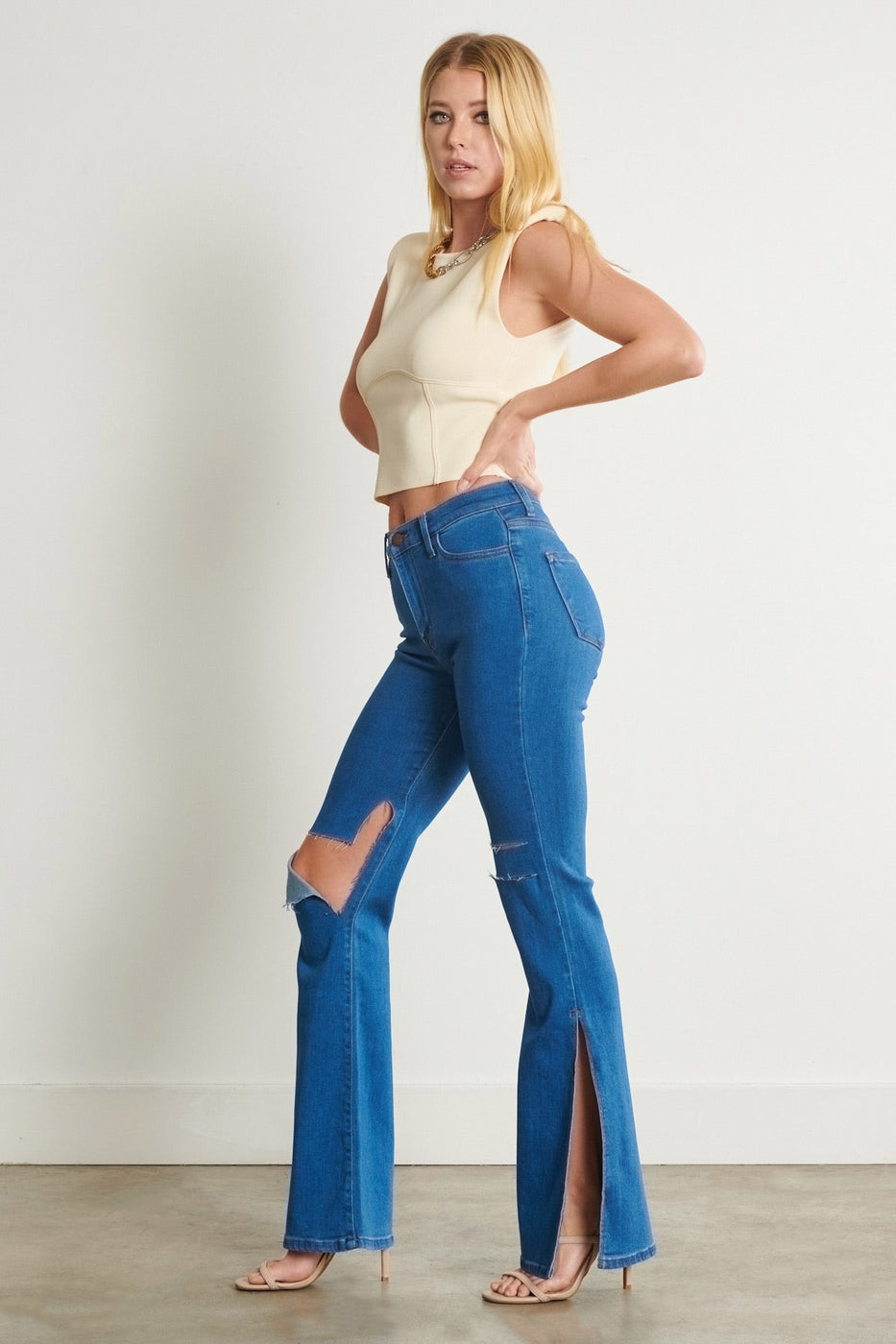 High Rised Distressed Split Flare Jeans