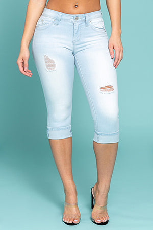 WannaBettaButt Mid-Rise Single Cuffed Denim Capris Shorts