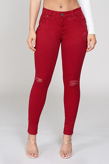 Mid-Rise Red Skinny Jeans