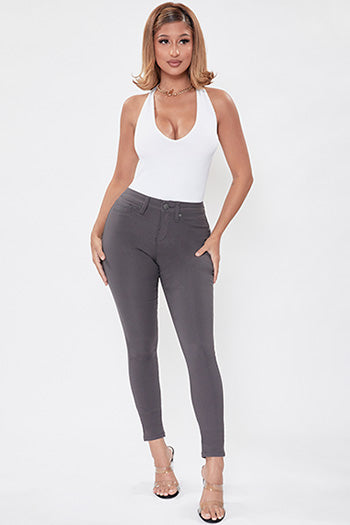 Smoke Hyperstretch Mid-Rise Skinny Jeans