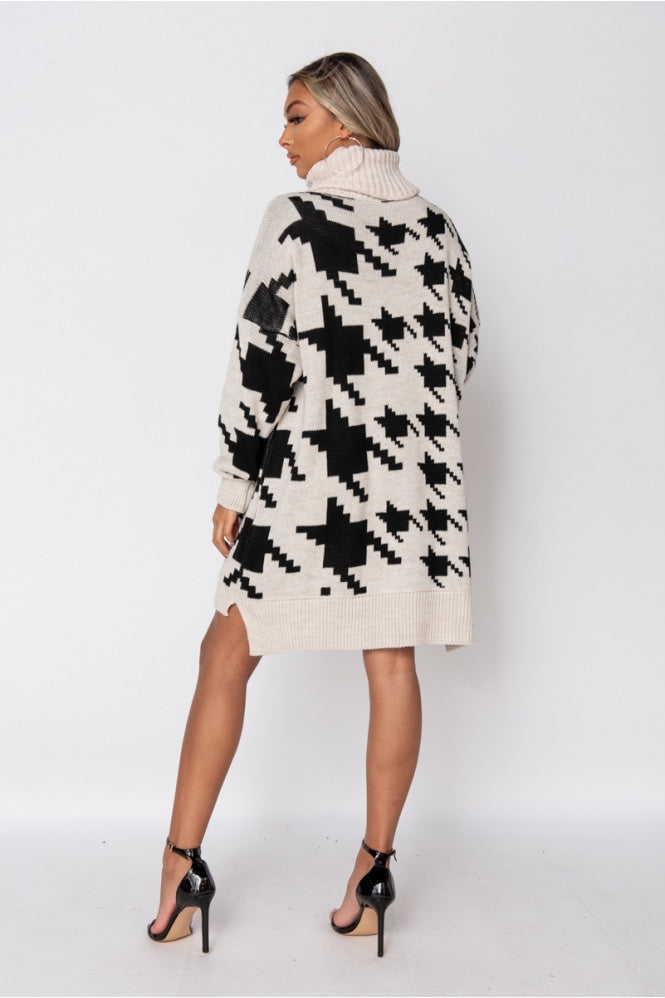 Beige Black Houndstooth Sweater Dress