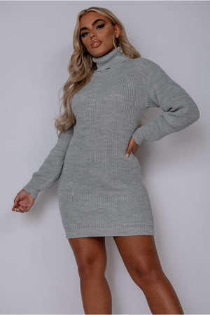 Grey Roll Neck Knitted Mini Dress