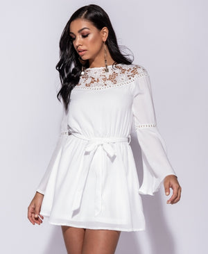 Lace Panel Tie Waist Flared Sleeve Dress
