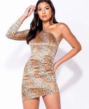 Leopard Print One Shoulder Side Ruched Bodycon Dress
