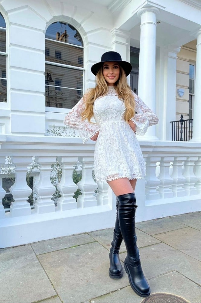 White Lace High Neck Balloon Sleeve Flare Dress