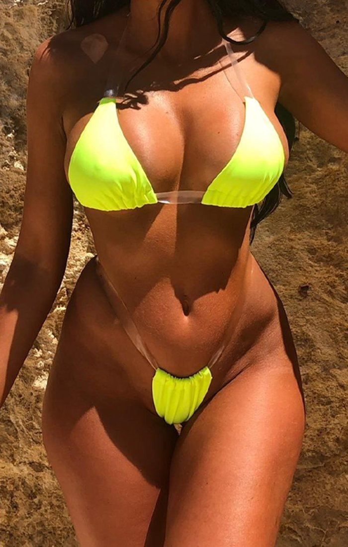 Invisible Neon Green Bikini Set