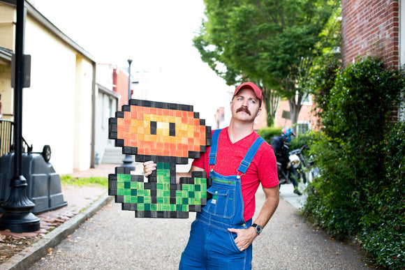 Mario Fire Flower 8-bit Art