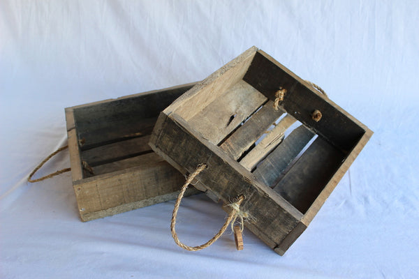 Serving Tray Rope Handle Reclaimed Wood