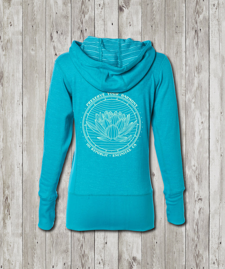 Ladies Preserve Your Harmony Lotus Baja Zip Hoodie