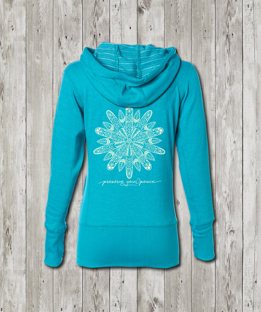Ladies Preserve Your Peace Surf Flower Baja Zip Hooded Sweatshirt