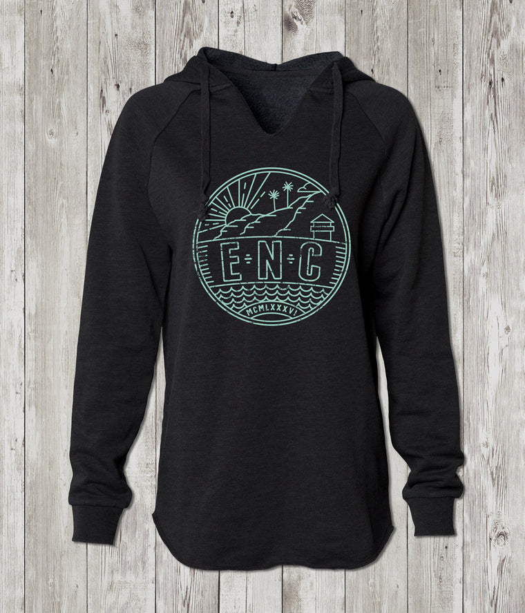 Ladies ENC Cali Pullover Hooded Sweatshirt (Encinitas)