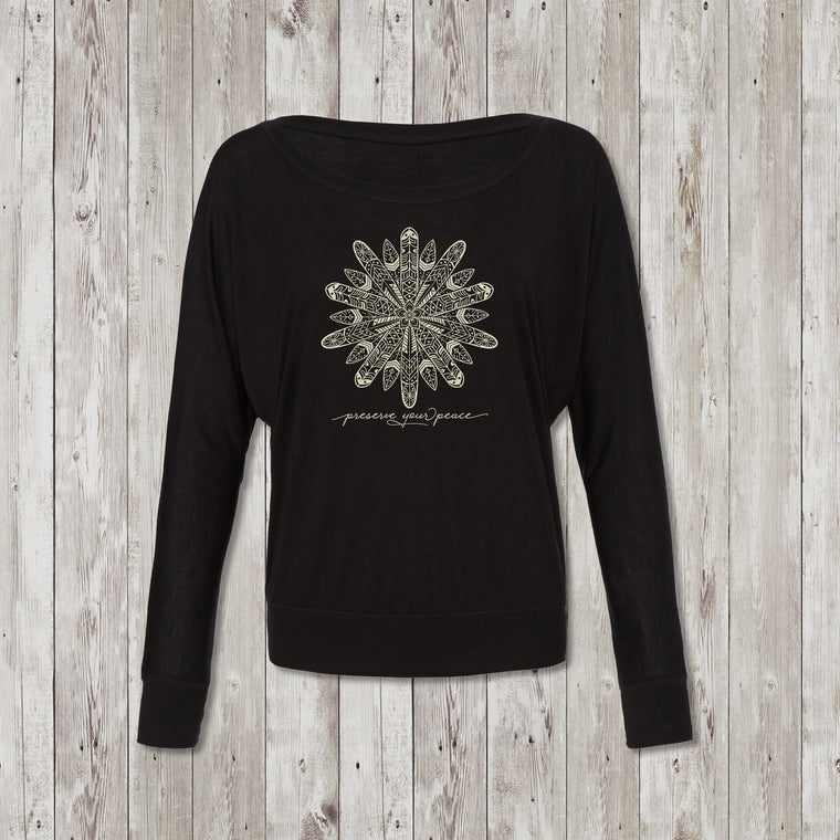 Ladies Preserve Your Peace Surf Flower Flowy Long Sleeve Tee