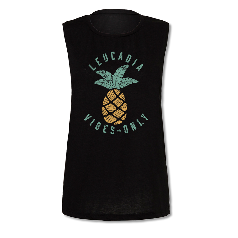 Ladies Leucadia Vibes Only Pineapple Yoga Muscle Tee