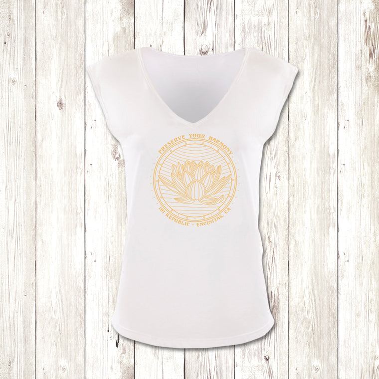 Ladies Preserve Your Harmony Lotus Festival V-Neck