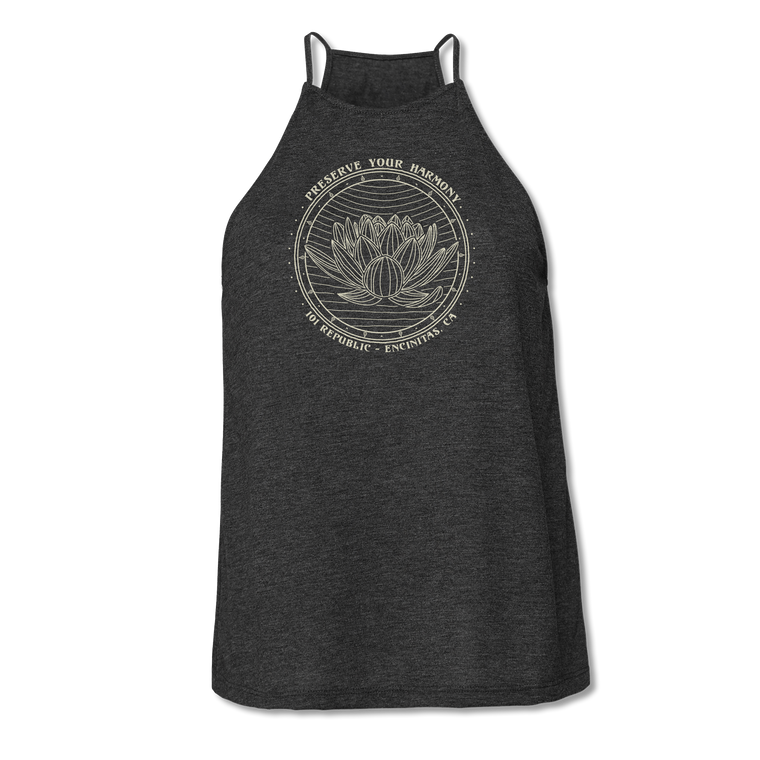 Ladies Preserve Your Harmony Lotus High Neck Yoga Tank