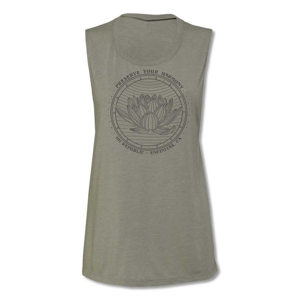 Ladies Preserve Your Harmony Lotus Yoga Muscle Tee