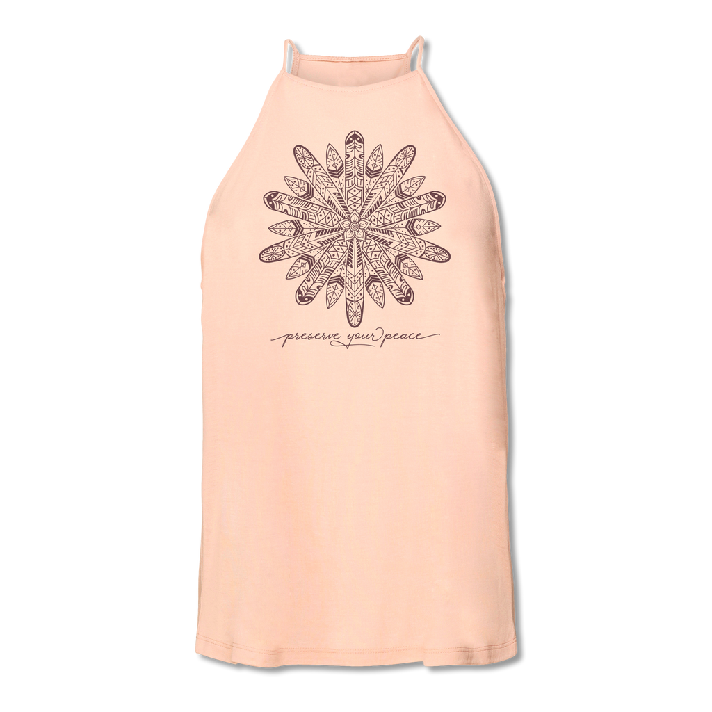 Ladies Preserve Your Peace Surf Flower High Neck Yoga Tank