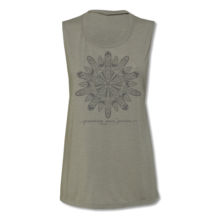 Ladies Preserve Your Peace Surf Flower Muscle Tee