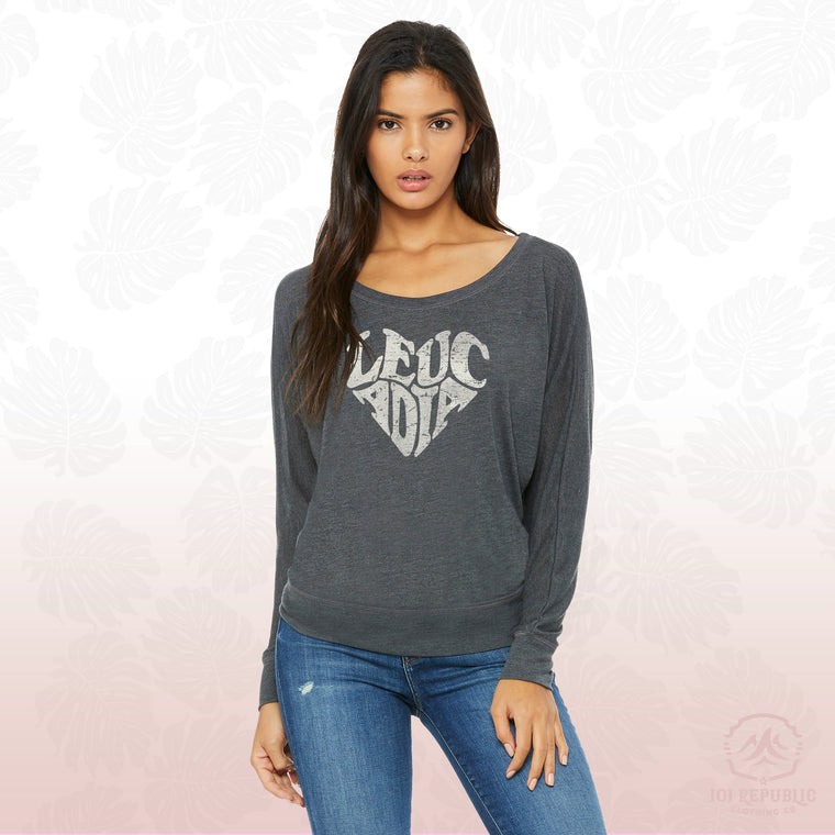 Ladies Flowy Heart Long Sleeve Off Shoulder Tee
