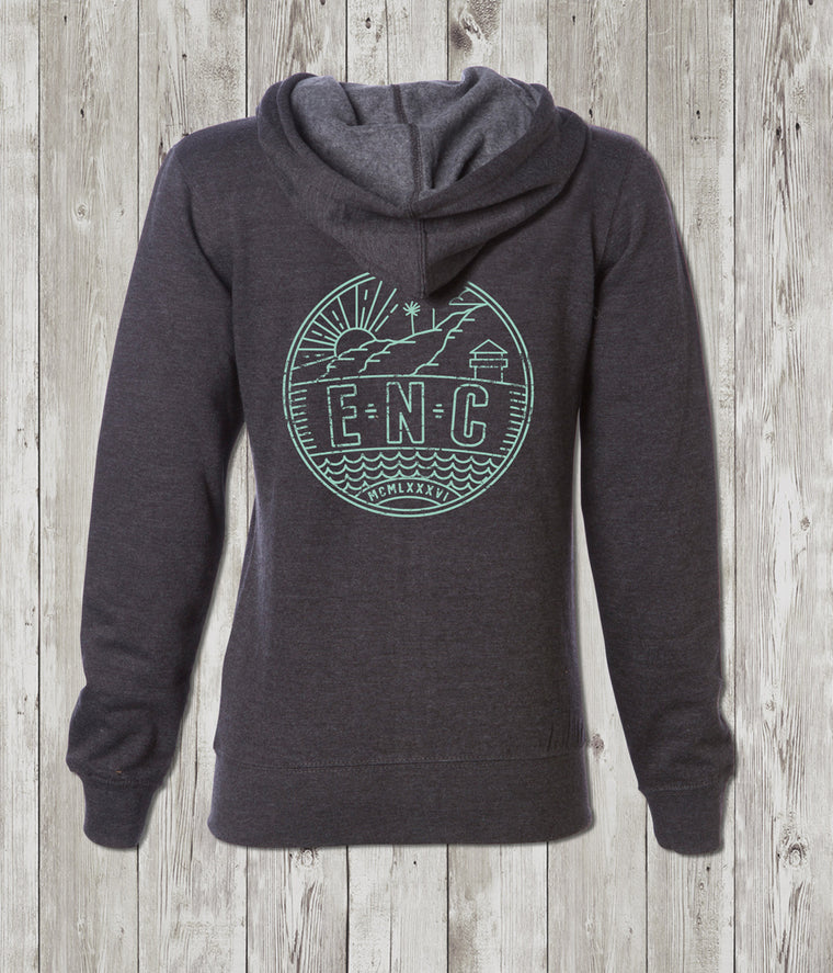 Ladies ENC Badge Zip Hoodie (Encinitas, CA)