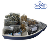Valentine's Dog Selection Box packed in a little boat with Gift Voucher