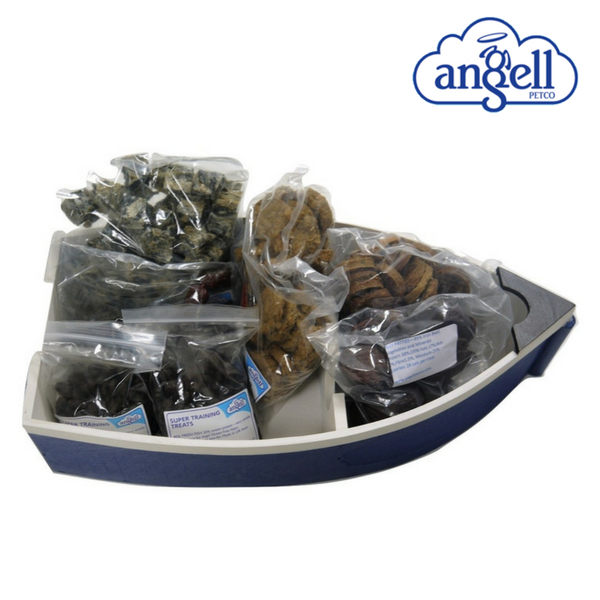 Dog Selection Box packed in a little boat with Gift Voucher Dog Food