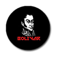 "Simon Bolivar 1"" Button (Red and White on Black)"