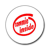 "Commie Inside / Intel Logo 1"" Button (Red on White)"