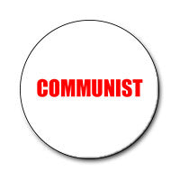"Communist 1"" Button (Red on White)"
