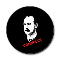"James Connolly 1"" Button (Red and White on Black)"