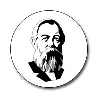 "New Style Engels 1"" Button (Black and White)"