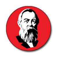 "New Style Engels 1"" Button (Black and White on Red)"