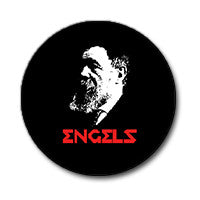 "Frederick Engels 1"" Button (Red and White on Black)"