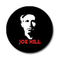 "Joe Hill 1"" Button (Red and White on Black)"