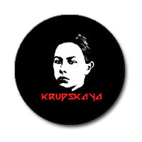 "Natalya Krupskaya 1"" Button (Red and White on Black)"