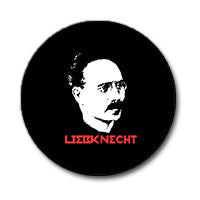 "Karl Liebknecht 1"" Button (Red and White on Black)"
