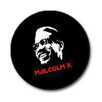 "Malcolm X 1"" Button (Red and White on Black)"