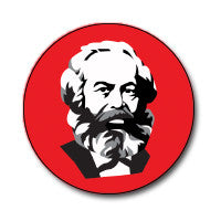 "New Style Marx 1"" Button (Black and White on Red)"