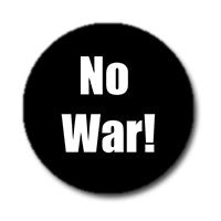 "No War! 1"" Button (White on Black)"