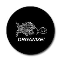 "Organize! Fish 1"" Button (White on Black)"