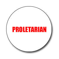 "Proletarian 1"" Button (Red on White)"