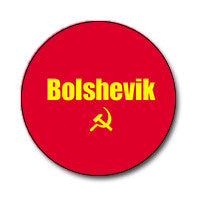 "Bolshevik / Hammer and Sickle 1"" Button (Yellow on Red)"