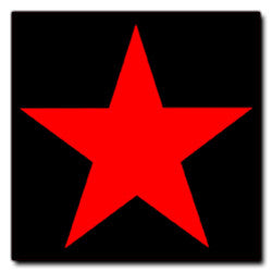 Red Star on Black Sticker