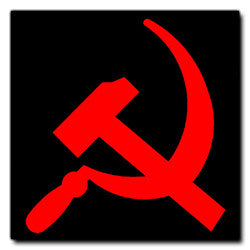 Red on Black Hammer and Sickle Sticker
