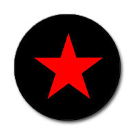 "Red Star on Black 1"" Button"
