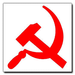 Red on White Hammer and Sickle Sticker