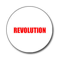 "Revolution 1"" Button (Red on White)"