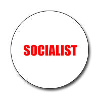 "Socialist 1"" Button (Red on White)"