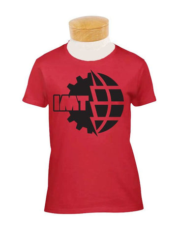 Women's Fitted New IMT Logo Black on Red T-Shirt